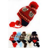 48 Units of Children's Fleece Lined Knitted Cap Bear Pattern