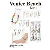 96 Units of VENICE BEACH ANKLET ASSORTED COLORS - Ankle Bracelets
