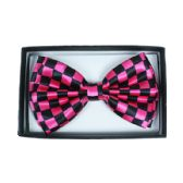 48 Units of Checkered Hot Pink Bow Tie - Neckties