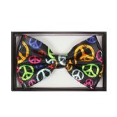 48 Units of Black Bow Tie with Colorful Peace Signs - Neckties