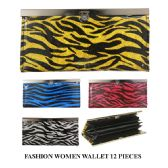 72 Units of FASHION WOMEN WALLET ANIMAL PRINT ASSORTED COLOR