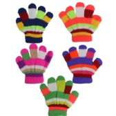 144 Units of KID GLOVES COLORFUL - Knitted Stretch Gloves