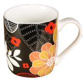 72 Units of BLACK MUG WITH FLOWERS - Coffee Mugs
