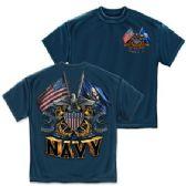 10 Units of T-SHIRT 012 DOUBLE FLAG AIRFORCE EAGLE NAVY BLUE EXTRA LARGE SIZE - Boys T Shirts