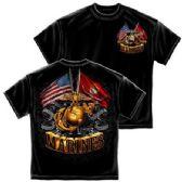 6 Units of T-SHIRT 015 DOUBLE FLAG GOLD GLOBE MARINE CORPS LARGE SIZE - Boys T Shirts