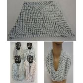 24 Units of Plush Infinity Scarf [Diamond Pattern] - Winter Scarves