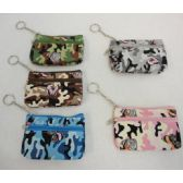 "72 Units of 5""x3.25"" Two-Compartment Zippered Change Purse [Camo & Butterfly]"