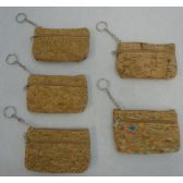 "72 Units of 5""x3.25"" Two-Compartment Zippered Change Purse [Cork]"