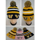 36 Units of Knitted Toboggan with PomPom [WV] - Winter Beanie Hats