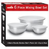 6 Units of 6 Piece Stainless Steel Mixing Bowl Set - Baking Supplies
