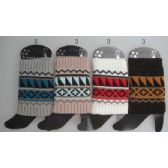 36 Units of Wholesale Aztec Design Short boot topper assorted colors