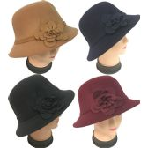 36 Units of Wholesale Women Lady Cloche Hat with Flower Assorted Colors - Sun Hats