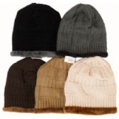 48 Units of Knit Ski Hat-Fur Trim & Lining