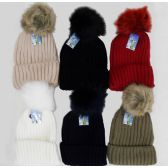 48 Units of Cuff Ski Hat With Fur Pompom-