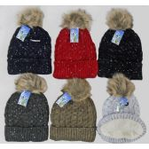 48 Units of Knit Ski Hat-Fur Lining, Fur Pompom