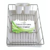 "6 Units of Deluxe Chrome Dish Drainer - White 19"" x 12"" x 3.5"" - Dish Drying Racks"