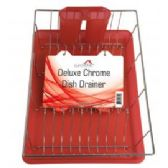 "6 Units of Deluxe Chrome Dish Drainer - Red 19"" x 12"" x 3.5"" - Dish Drying Racks"