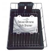 "6 Units of Deluxe Chrome Dish Drainer - Black 19"" x 12"" x 3.5"" - Dish Drying Racks"
