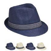 36 Units of Stylish Fedora Hat White And Blue Assortment