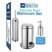 4 Units of 3 Pc Stainless Steel Bathroom Set w/ 3L Stepcan, Toilet Brush Holder, Soap Dispenser - Stainless Steel - Bathroom Accessories