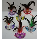 72 Units of Masquerade Mask--Feathers on Top/Glitter - Masks