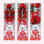 """12 Units of VALENTINE 12"""" ROSES AND BEAR WITH HEART - VALENTINES"""