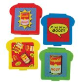 12 Units of CAMPBELL'S SANDWICH CONTAINER 4.5 X 5 INCH ON CLIP STRIP ASSORTED COLORS & DESIGNS