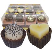 48 Units of SCENTED CANDLE IN DISPLAY FANCY CHOCOLATE CAKES 6 ASSORTED DESIGNS