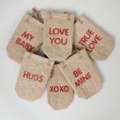 48 Units of Valentine Burlap Wine/Treat Bag - Valentine Gift Bag's