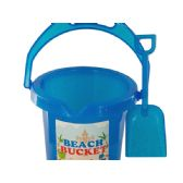 72 Units of Glitter Beach Bucket with Shovel - Beach Toys