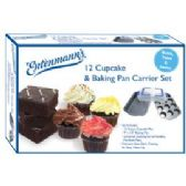 6 Units of 12 Cupcake & Baking Pan Carrier Set - Frying Pans and Baking Pans