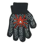 48 Units of WINTER GLOVES FOR BOYS SPIDER DESIGN - Knitted Stretch Gloves
