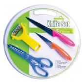24 Units of 5 Piece Knife Setw/Cutting Board - Kitchenware