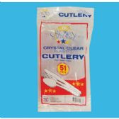 48 Units of PLASTIC CUTLERY 51 COUNT COMBO CLEAR - Disposable Cutlery
