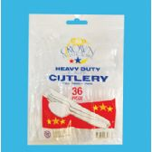36 Units of Crown Plastic Ware Cutlery - Plastic Utensils
