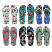 96 Units of Womens Printed Flip Flops