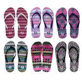 96 Units of Womens Printed Flip Flops