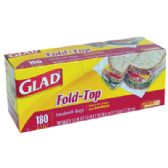 12 Units of 180 COUNT GLAD FOLD TOP SANDWICH BAGS