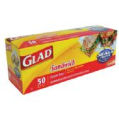 12 Units of 50 COUNT GLAD SANDWICH BAGS