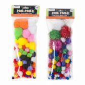 72 Units of Craft Pom-poms Color & Glitter 2ast 3size Poms Per 100pc Pk Craft Pbh - Craft Kits