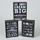 48 Units of Box Sign Chalkboard Sayings 3 Asst 5 X 7 See N2 - Gifts Items