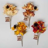 48 Units of Fall Leaves 7stem 12in Bouquet W/pinecone & Gourd Artificial 4ast Colors/harvest Ht