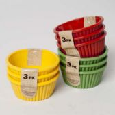48 Units of Ramekin 3pk Plastic/3ast Colors Harvest Label - Baskets