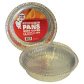 48 Units of 3 PACK 8.5 INCH ROUND FOIL PANS WITH COVER - Aluminum Pans