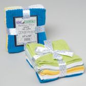 24 Units of Wash Cloths 6pk 12 X 12 Ribbed/ Popcorn W/ribbon Tie Asst Colors See N2 - Gifts Items