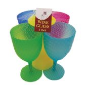 24 Units of 5 PACK PLASTIC WINE GLASS ASSORTED COLORS IN DISPLAY - Drinkware