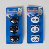 96 Units of Bag Clips Novelty Animals 3pk Cat/panda Kitchen Tcd - CLIPS/FASTENERS