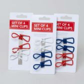 72 Units of Clips Mini 4 Pack All Purpose Assorted Colors Carded - Clips and Fasteners
