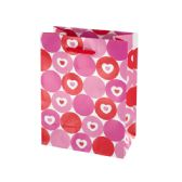 144 Units of Hearts & Dots Valentine Gift Bag - Gift Bags