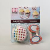72 Units of Cupcake Baking Paper 24ct W/toppers Large Dots - Baking Supplies